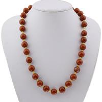 Roter Jaspis Halskette, Messing Karabinerverschluss, rund, für Frau, 12mm, verkauft per ca. 20 ZollInch Strang