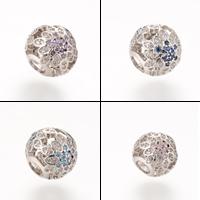 Messing European Perlen, Trommel, Platinfarbe platiniert, Micro pave Zirkonia & ohne troll, keine, frei von Nickel, Blei & Kadmium, 11.8X10.8mm, Bohrung:ca. 4-5mm, 5PCs/Tasche, verkauft von Tasche