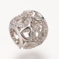 Messing European Perlen, Trommel, Platinfarbe platiniert, Micro pave Zirkonia & ohne troll, frei von Nickel, Blei & Kadmium, 9.4x10.5mm, Bohrung:ca. 4-5mm, 5PCs/Tasche, verkauft von Tasche
