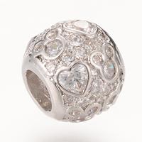 Messing European Perlen, Trommel, Platinfarbe platiniert, Micro pave Zirkonia & ohne troll, frei von Nickel, Blei & Kadmium, 10.2X8.6mm, Bohrung:ca. 4-5mm, 5PCs/Tasche, verkauft von Tasche