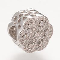 Messing European Perlen, Blume, Platinfarbe platiniert, Micro pave Zirkonia & ohne troll, frei von Nickel, Blei & Kadmium, 11.3x8.7mm, Bohrung:ca. 4-5mm, 5PCs/Tasche, verkauft von Tasche