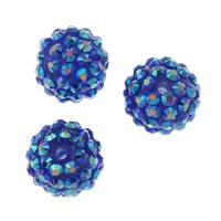 Lagerluft Perlen Schmuck, Harz, rund, mit Strass, blau, 15mm, Bohrung:ca. 2mm, 10PCs/Tasche, verkauft von Tasche