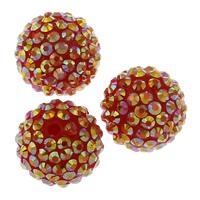 Lagerluft Perlen Schmuck, Harz, rund, mit Strass, rot, 20mm, Bohrung:ca. 2mm, 10PCs/Tasche, verkauft von Tasche