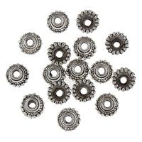 Zinklegierung Perlenkappe, Blume, antik silberfarben plattiert, frei von Blei & Kadmium, 7x7x3mm, Bohrung:ca. 2mm, 100PCs/Tasche, verkauft von Tasche