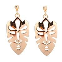 Zinklegierung Tropfen Ohrring, Edelstahl Stecker, Maske, goldfarben plattiert, frei von Blei & Kadmium, 12x45mm, verkauft von Paar