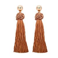 Mode-Fringe-Ohrringe, Zinklegierung, mit Kunststoff Ohrmutter & Nylonschnur, Edelstahl Stecker, goldfarben plattiert, frei von Blei & Kadmium, 25x95mm, verkauft von Paar