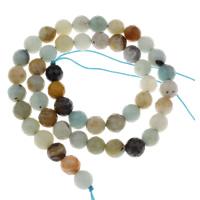 Amazonit Perlen, rund, verschiedene Größen vorhanden & facettierte, Bohrung:ca. 1mm, verkauft per ca. 15 ZollInch Strang