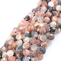 Mondstein Perlen, flache Runde, natürlich, facettierte, 12x12x5mm, Bohrung:ca. 0.5mm, ca. 32PCs/Strang, verkauft per ca. 16 ZollInch Strang