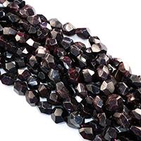 Natürlicher Granat Perlen, Klumpen, facettierte, 12x16mm, Bohrung:ca. 0.5mm, ca. 25PCs/Strang, verkauft per ca. 16 ZollInch Strang