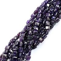 Natürliche Amethyst Perlen, Quadrat, Februar Birthstone & verschiedene Größen vorhanden, Bohrung:ca. 0.5-1mm, verkauft per ca. 16 ZollInch Strang