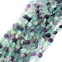 Fluorit Perlen, flache Runde, natürlich, verschiedene Größen vorhanden, Bohrung:ca. 0.5-1mm, verkauft per ca. 16 ZollInch Strang