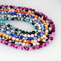 Regen Blumen Stein Perlen, rund, verschiedene Größen vorhanden, keine, Bohrung:ca. 1mm, verkauft per ca. 14.5 ZollInch Strang