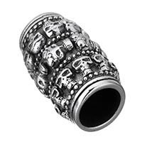 Edelstahl-Perlen mit großem Loch, Edelstahl, Zylinder, mit Totenkopf-Muster & Schwärzen, 23.50x14x14mm, Bohrung:ca. 8mm, 10PCs/Menge, verkauft von Menge
