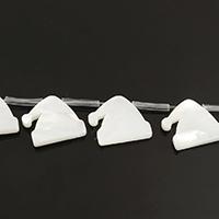 Natürliche weiße Muschelperlen, Weihnachtsmütze, 14x13x2mm, Bohrung:ca. 0.8mm, ca. 20PCs/Strang, verkauft per ca. 13 ZollInch Strang