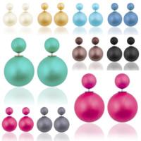 Doppelseitigen Ohrstecker, Kunststoff, Messing Stecker, Platinfarbe platiniert, für Frau, gemischte Farben, 8x16mm, 10PCs/Menge, verkauft von Menge