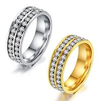 Rhinestone-Edelstahl -Finger-Ring, Edelstahl, rund, plattiert, verschiedene Größen vorhanden & für Frau & mit Strass, keine, 6mm, verkauft von PC