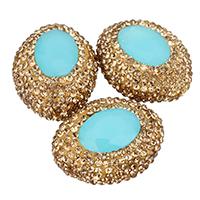 Kristall-Perlen, Lehm pflastern, mit Kristall, oval, mit Strass, 20x25x14mm, Bohrung:ca. 1mm, 10PCs/Tasche, verkauft von Tasche