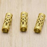Messing Rohr Perlen, originale Farbe, frei von Nickel, Blei & Kadmium, 8.8x12.7x0.4mm, Bohrung:ca. 6mm, 100PCs/Tasche, verkauft von Tasche