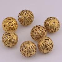 Messing hohle Perlen, rund, originale Farbe, frei von Nickel, Blei & Kadmium, 10mm, Bohrung:ca. 1.5mm, 100PCs/Tasche, verkauft von Tasche