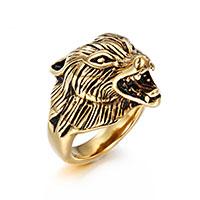 Edelstahl Herren-Fingerring, Wolf, goldfarben plattiert, verschiedene Größen vorhanden & für den Menschen & Schwärzen, 16mmx25mm, 5mm, verkauft von PC