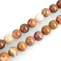 Holz Perle, rund, natürlich, gefärbt & verschiedene Größen vorhanden, Bohrung:ca. 0.5-2mm, verkauft per ca. 15 ZollInch Strang