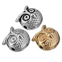 Zinklegierung Tier Perlen, Eule, plattiert, keine, frei von Nickel, Blei & Kadmium, 10.50x10.50x8mm, Bohrung:ca. 1.5mm, 500PCs/Menge, verkauft von Menge