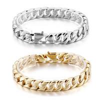 Herren-Armband & Bangle, Edelstahl, plattiert, Kandare Kette & für den Menschen, keine, 10mm, verkauft per ca. 9 ZollInch Strang