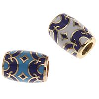 Messing European Perlen, goldfarben plattiert, keine, frei von Nickel, Blei & Kadmium, 13x9mm, Bohrung:ca. 5mm, verkauft von PC