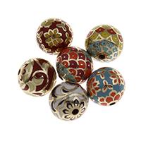 Messing Schmuckperlen, rund, goldfarben plattiert, verschiedene Muster für Wahl, frei von Nickel, Blei & Kadmium, 15mm, Bohrung:ca. 2mm, verkauft von PC
