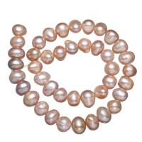 Natürliche Süßwasser, lose Perlen, Natürliche kultivierte Süßwasserperlen, violett, 9-10mm, Bohrung:ca. 0.8mm, verkauft per ca. 15 ZollInch Strang