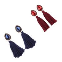 Mode-Fringe-Ohrringe, Baumwolle Schnur, mit Kristall & Zinklegierung, QuasteTroddel, plattiert, für Frau & facettierte, keine, 15x100mm, verkauft von Paar