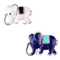 Strass Brosche, Zinklegierung, Elephant, plattiert, für Frau & Emaille & mit Strass, keine, frei von Nickel, Blei & Kadmium, 45x37mm, verkauft von PC