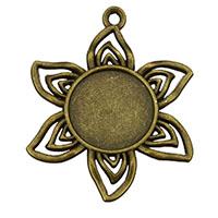 Zink-Legierung Cabochon Weissgold, Zinklegierung, Blume, antike Bronzefarbe plattiert, frei von Nickel, Blei & Kadmium, 32x40x2mm, Bohrung:ca. 2mm, Innendurchmesser:ca. 16mm, 300PCs/Menge, verkauft von Menge