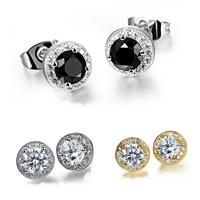 Edelstahl Ohrringe, plattiert, Micro pave Zirkonia & für Frau, keine, 8x5mm, verkauft von Paar