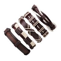 PU Leder Armband-Set, mit Gewachste Nylonschnur & Kuhhaut, einstellbar & für den Menschen, Länge:ca. 7-7.8 ZollInch, 5SträngeStrang/setzen, verkauft von setzen