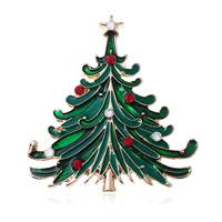 Strass Brosche, Zinklegierung, Weihnachtsbaum, goldfarben plattiert, für Frau & Emaille & mit Strass, frei von Nickel, Blei & Kadmium, 42x43mm, verkauft von PC