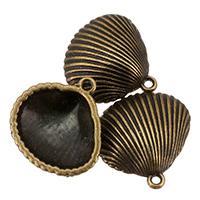 Zink-Aluminium-Anhänger, Zinklegierung, Schale, antike Bronzefarbe plattiert, frei von Nickel, Blei & Kadmium, 17x17x5mm, Bohrung:ca. 1.5mm, ca. 868PCs/Tasche, verkauft von Tasche