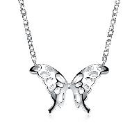comeon® Schmuck Halskette, Messing, mit Verlängerungskettchen von 1.9lnch, Schmetterling, versilbert, Oval-Kette & für Frau & hohl, frei von Nickel, Blei & Kadmium, 29x19mm, verkauft per ca. 17.7 ZollInch Strang