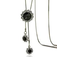 Zinklegierung Pullover Halskette, mit Eisenkette & Kristall, Platinfarbe platiniert, Schlangekette & für Frau & facettierte & mit Strass, frei von Blei & Kadmium, 25x25mm, verkauft per ca. 37.5 ZollInch Strang