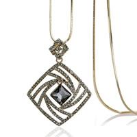 Zinklegierung Pullover Halskette, mit Eisenkette & Kristall, Platinfarbe platiniert, Schlangekette & für Frau & facettierte & mit Strass, frei von Blei & Kadmium, 65x50mm, verkauft per ca. 31 ZollInch Strang
