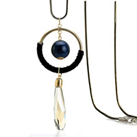 Zinklegierung Pullover Halskette, mit ABS-Kunststoff-Perlen & Eisenkette & Wollschnur & Kristall, plattiert, für Frau & facettierte, frei von Blei & Kadmium, 45x45mm, verkauft per ca. 31 ZollInch Strang