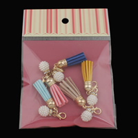 Zinklegierung Key Schließe Einstellung, mit ABS-Kunststoff-Perlen & Wollschnur, goldfarben plattiert, mit Strass, keine, frei von Blei & Kadmium, 23x55mm, Bohrung:ca. 4mm, 5PCs/Tasche, verkauft von Tasche