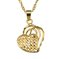 Messing Halskette, Herz, 24 K vergoldet, für Frau & hohl, 17.5x20.5mm, 2mm, verkauft per ca. 17 ZollInch Strang