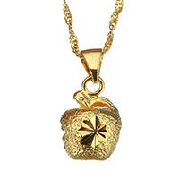 Messing Halskette, Apfel, 24 K vergoldet, Blume Schnitt & für Frau & gehämmert, 12x16.5mm, 2mm, verkauft per ca. 17 ZollInch Strang