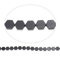 Nicht-magnetische Hämatit Perlen, Non- magnetische Hämatit, Sechseck, 7.50x8.50x2mm, Bohrung:ca. 1mm, ca. 46PCs/Strang, verkauft per ca. 15.5 ZollInch Strang