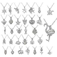 Süßwasserperle Locket Halskette, Zinklegierung, mit Eisenkette & Perlen, Platinfarbe platiniert, verschiedene Stile für Wahl & mit Brief Muster & für Frau & hohl, frei von Blei & Kadmium, 31x18mm, verkauft per ca. 17.5 ZollInch Strang