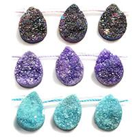 Natürliche Eis Quarz Achat Perlen, Eisquarz Achat, Tropfen, druzy Stil, keine, 10x14mm, Bohrung:ca. 2mm, ca. 14PCs/Strang, verkauft per ca. 8 ZollInch Strang