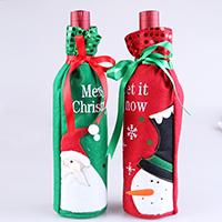 Stoff Weihnachten Wein Bag, mit Kunststoff Pailletten & Satinband, Weihnachtsschmuck & verschiedene Muster für Wahl & mit Brief Muster, 300x125mm, verkauft von PC