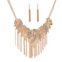 Zinklegierung Schmucksets, Ohrring & Halskette, mit Verlängerungskettchen von 7cm, goldfarben plattiert, Twist oval & mit Strass, frei von Blei & Kadmium, 450mm, Länge:ca. 17.5 ZollInch, verkauft von setzen