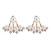 Zinklegierung Cartoon-Split-Ohrring, mit ABS-Kunststoff-Perlen, Edelstahl Stecker, goldfarben plattiert, abnehmbare, frei von Blei & Kadmium, 20x30mm, verkauft von Paar